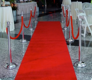 Eggsotic Events Red Carpet with Chrome Stanchions 1